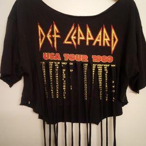 NWT Def Leppard Crop Stripped Band Tee 1980 Tour